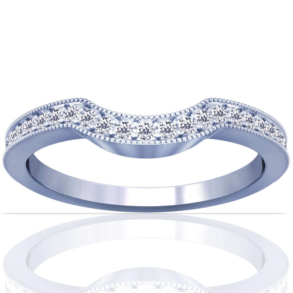 Round Diamonds Prong Set Wedding Band Setting (0.19cttw)