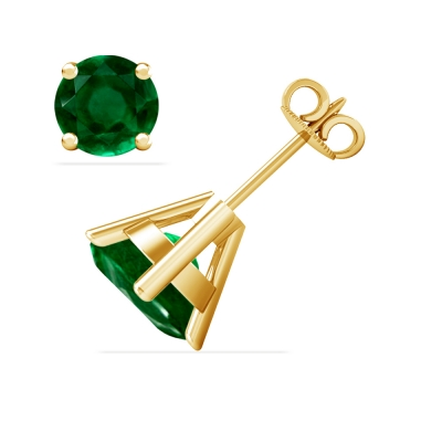 Emerald Solitaire Earrings - (14k Yellow Gold)
