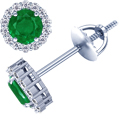Round Shape Emerald Earrings With Round Diamonds (2.98cttw)