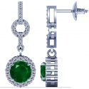 Round Shape Emerald Dangling Earrings With Round Diamonds (2.19cttw.)
