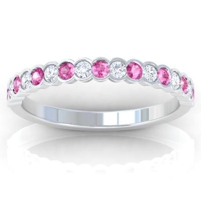 Half Eternity Diamond And Pink Sapphire Round