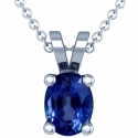 Oval Cut Blue Sapphire Solitaire Pendant (0.59cts)