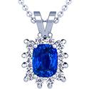 Cushion Blue Sapphire Pendant With Round Diamonds (6.46cttw)