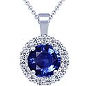 Round Shape Blue Sapphire Pendant With Round Diamonds (6.10cttw)