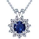 Rare Untreated Round Shape Blue Sapphire Pendant With Round Diamonds (3.86cttw)