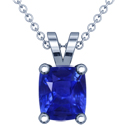 Rare Untreated Cushion Blue Sapphire Solitaire Pendant (16.10cts)