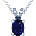 Rare Untreated Oval Cut Blue Sapphire Solitaire Pendant (6.76cts)
