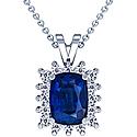 Cushion Blue Sapphire Pendant With Round Diamonds (4.50cttw)
