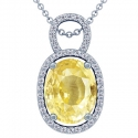 Rare Untreated Oval Cut Yellow Sapphire Pendant With Round Diamonds (7.09cttw)
