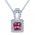 Rare Untreated Square Cut Pink Sapphire Pendant With Round Diamonds (2.20cttw)