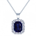 Rare Untreated Cushion Blue Sapphire Pendant With Round Diamonds (4.49cttw)
