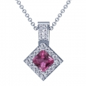 Rare Untreated Square Cut Pink Sapphire Pendant With Round Diamonds (1.94cttw)