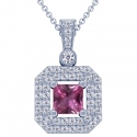 Rare Untreated Square Cut Pink Sapphire Pendant With Round Diamonds (2.39cttw)