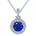 Rare Untreated Round Shape Blue Sapphire Pendant With Round Diamonds (2.62cttw)