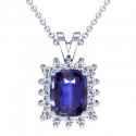 Cushion Blue Sapphire Pendant With Round Diamonds (5.63cttw)