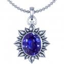 Oval Cut Blue Sapphire Solitaire Pendant (1.38cts)