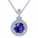 Round Shape Blue Sapphire Pendant With Round Diamonds (2.62cttw)