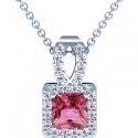 Rare Untreated Square Cut Pink Sapphire Pendant With Round Diamonds (1.96cttw)