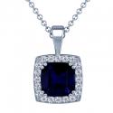 Cushion Blue Sapphire Pendant With Round Diamonds (3.24cttw)