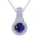 Rare Untreated Round Shape Blue Sapphire Pendant With Round Diamonds (2.96cttw)