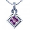 Rare Untreated Square Cut Purple Sapphire Pendant With Round Diamonds (3.29cttw)