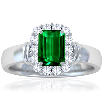 Emerald Cut Ring Setting With Round Diamonds (0.42cttw)