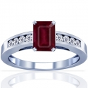 Composite Emerald Cut Ruby Prong Set Ring With Round Diamonds (1.37cttw)