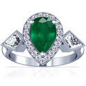Pear Shape Emerald Prong Set Three Stone Ring With Round And Kite Shape Diamonds (2.73cttw)
