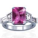Emerald Cut Pink Sapphire Prong Set Three Stone Ring With Trapezoid Cut And Straight Baguette Cut Diamonds (2.10cttw)