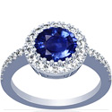 Round Shape Blue Sapphire Prong Set Halo Ring With Round Diamonds (5.50cttw)