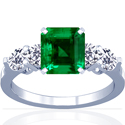 Emerald Prong Set Ring With Round Diamonds (5.18cttw)