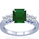 Emerald Prong Set Ring With Princess Cut Diamonds (6.48cttw)