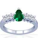 Pear Shape Emerald Prong Set Ring With Princess Cut Diamonds (2.47cttw)