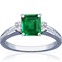 Emerald Prong Set Three Stone Ring With Princess Cut And Round Diamonds (3.12cttw)