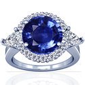 Round Shape Blue Sapphire Prong Set Halo Ring With Pear Shape And Round Diamonds (6.69cttw)