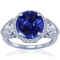 Rare Untreated Round Shape Blue Sapphire Prong Set Halo Ring With Trillion Cut And Round Diamonds (6.24cttw)