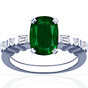 Cushion Emerald Prong Set Ring With Round And Straight Baguette Cut Diamonds (2.06cttw)