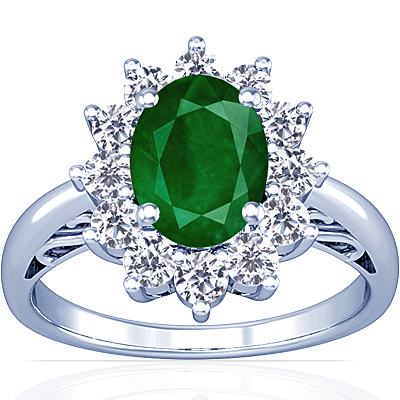emerald oval princess diana ring 2 93cttw