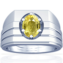 Astrological Men's Yellow Sapphire Prong Set Ring (2.46cts)