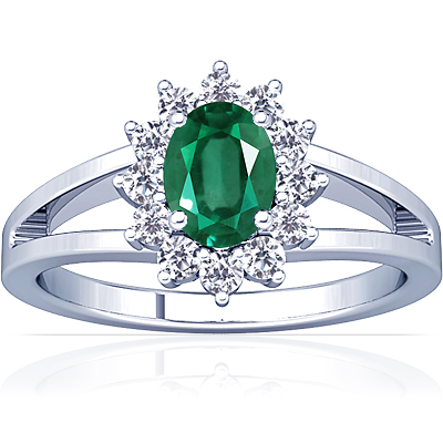 emerald oval princess diana ring 1 44cttw