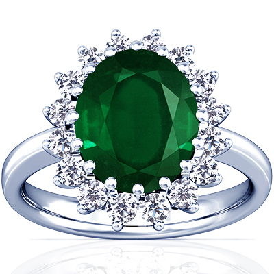 emerald oval princess diana ring 4 56cttw