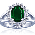 Untreated Emerald Oval Princess Diana Ring (2.47cttw)