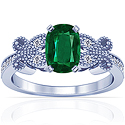 Cushion Emerald Prong Set Ring With Round Diamonds (1.94cttw)