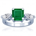 Emerald Prong Set Three Stone Ring With Marquise Shape Diamonds (3.18cttw)