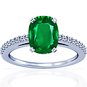 Cushion Emerald Prong Set Ring With Round Diamonds (2.57cttw)