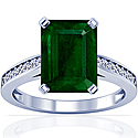 Emerald Prong Set Ring With Round Diamonds (8.88cttw)