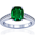 Cushion Emerald Prong Set Ring With Round Diamonds (2.42cttw)
