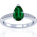 Pear Shape Emerald Prong Set Ring With Round Diamonds (3.07cttw)