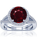 Composite Round Shape Ruby Prong Set Halo Ring With Round Diamonds (5.24cttw)