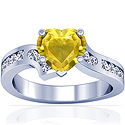 Heart Shape Yellow Sapphire Prong Set Ring With Round Diamonds (2.52cttw)
